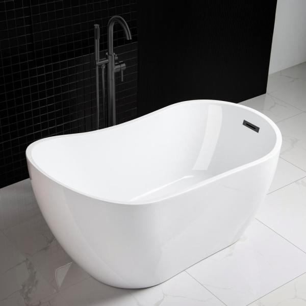 Woodbridge Lannion 54 In Acrylic Freestanding Single Slipper Flat Bottom Soaking Bathtub With Drain And Overflow Included In White Hbt5645 The Home Depot