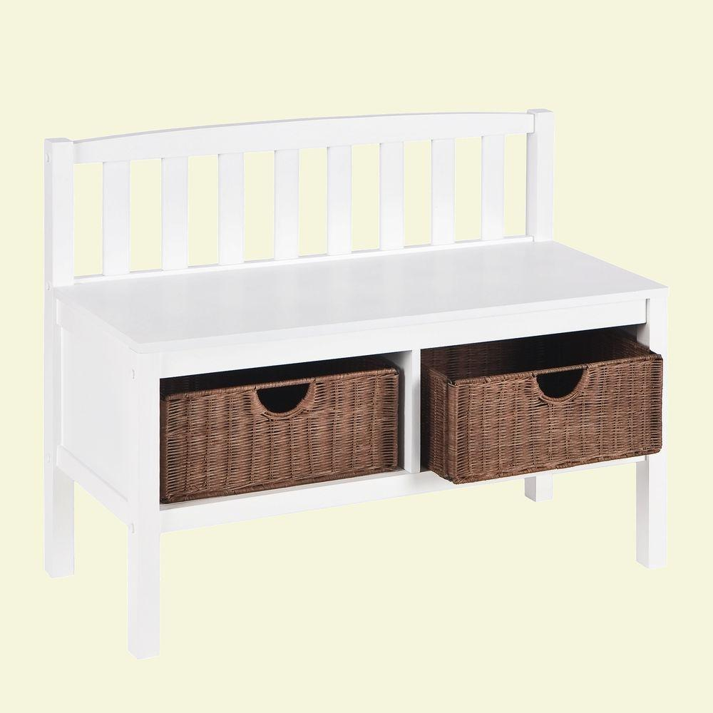 Home Decorators Collection 2-Basket Storage Bench in White
