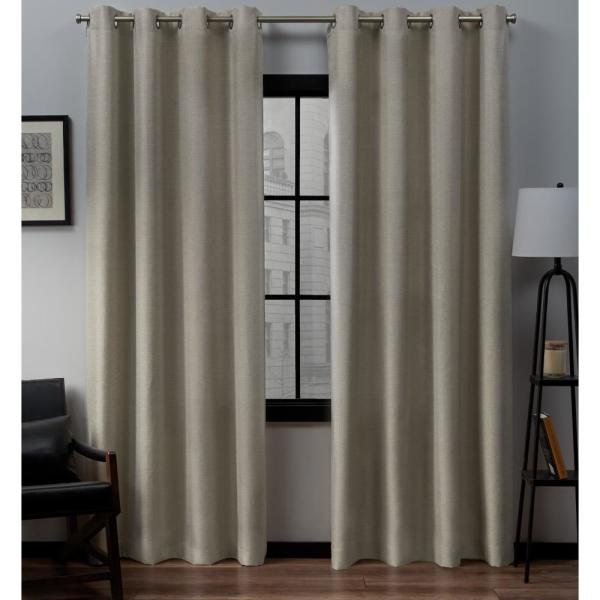 Loha 54 in. W x 84 in. L Linen Blend Grommet Top Curtain Panel in Natural (2 Panels)