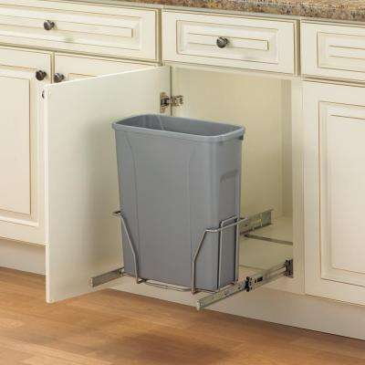 17 in. H x 14 in. W x 16 in. D Steel In-Cabinet 20 Qt. Single Pull-Out Trash Can in Platinum