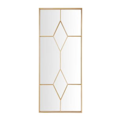 Oversized Gold Metal Frame Windowpane Classic Floor Mirror (70 in. H x 29 in. W)