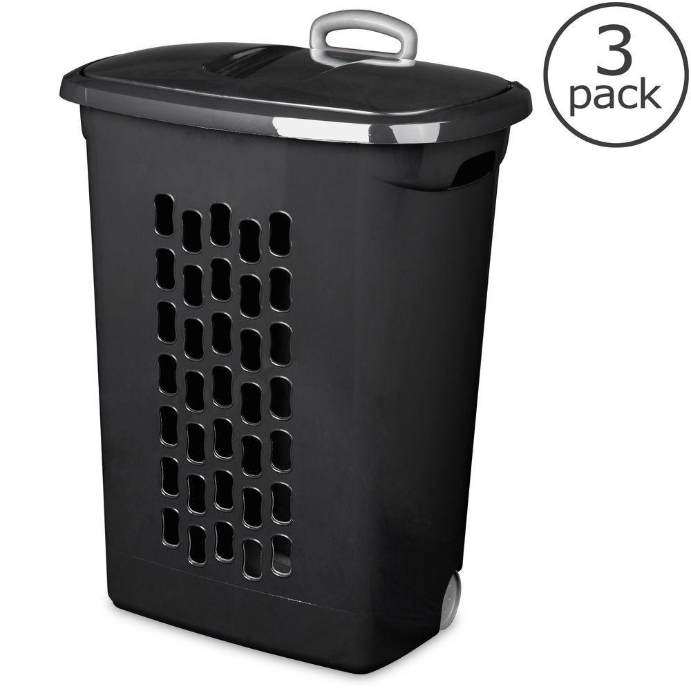Black Plastic Wheeled Laundry Basket (3-Pack)