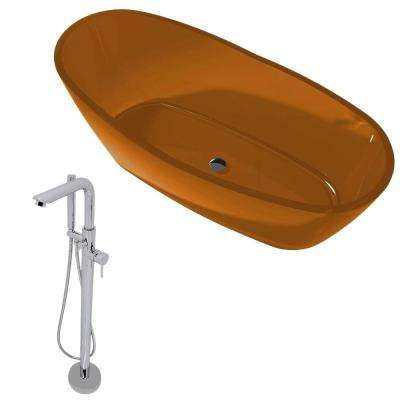 Ember 5.4 ft. Man-Made Stone Slipper Flatbottom Non-Whirlpool Bathtub in Honey Amber and Sens Faucet in Chrome