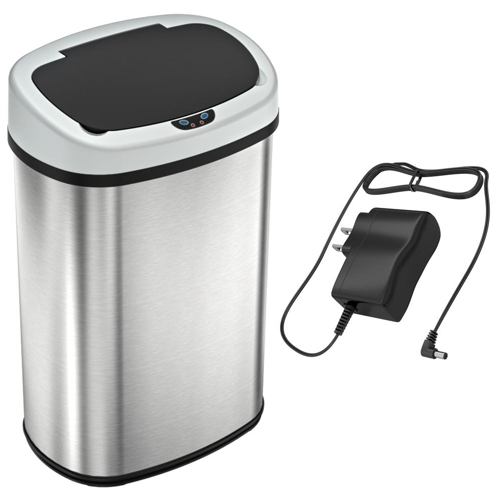 SensorCan 13 Gal. Oval Stainless Steel Automatic Sensor Kitchen Trash Can  with Power Adapter