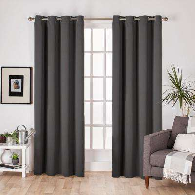 Sateen 52 in. W x 84 in. L Woven Blackout Grommet Top Curtain Panel in Charcoal (2 Panels)