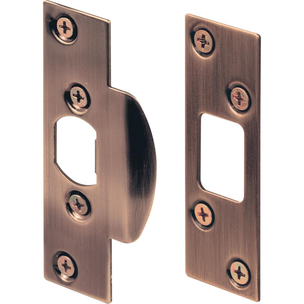 Prime-Line Antique Brass Plated Security Strike Plate Kit - Prime-Line Antique Brass Plated Security Strike Plate Kit-U 9990
