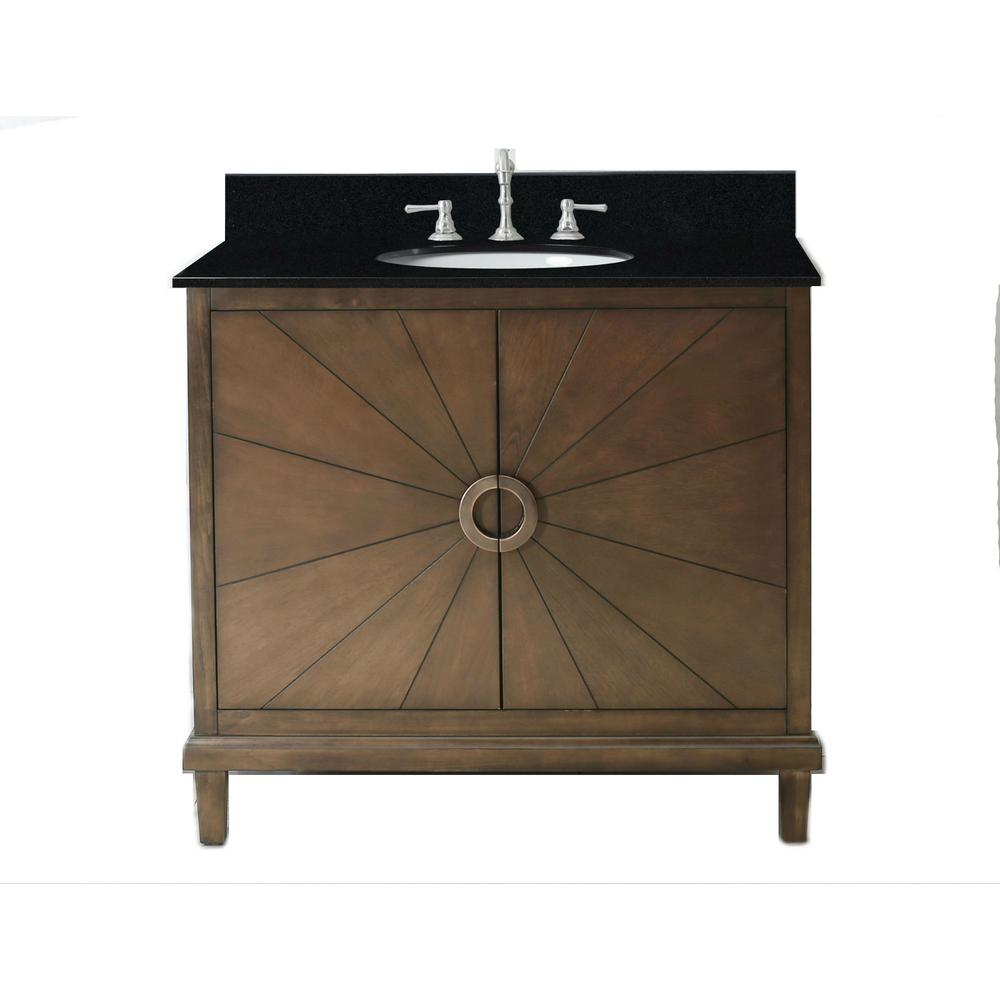 37 in. Vanity in Antique Coffee with Granite Vanity Top in