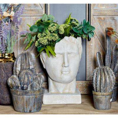 15 in. x 11 in. White Fiber Clay Male Head Planter