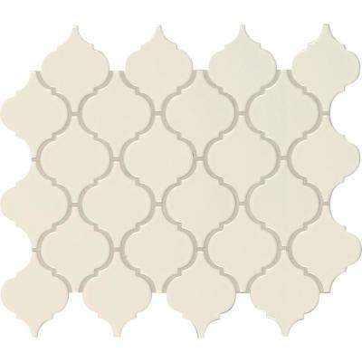 Almond Glossy Arabesque 11.53 in. x 9.65 in. x 10 mm Porcelain Mesh-Mounted Mosaic Tile (15.46 sq. ft. / case)