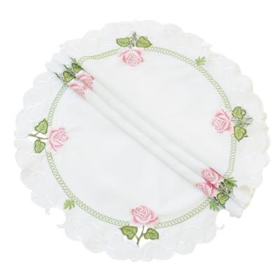 Summer Rose 12 in. Embroidered Cutwork Round Doily (Set of 4)