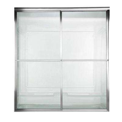 Prestige 44 in. x 71.5 in. Framed Sliding Shower Door in Silver with Clear Glass
