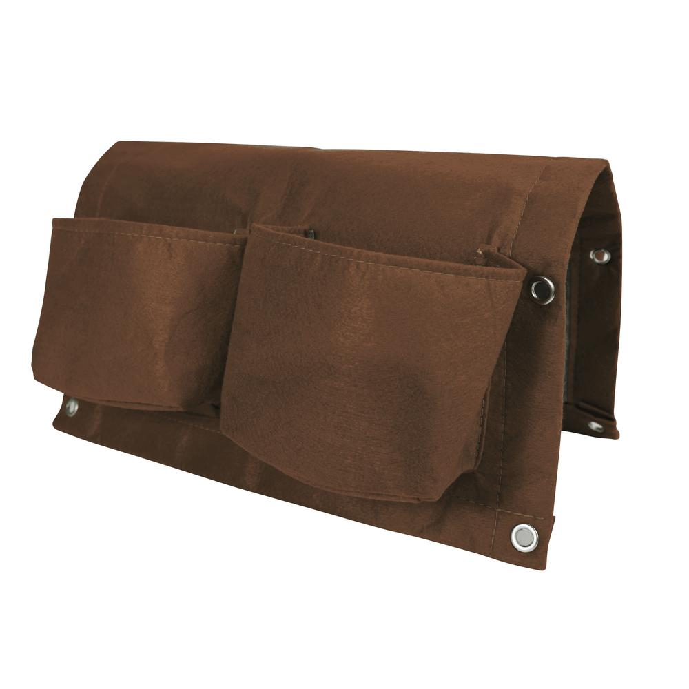 BloemBagz Deck Rail 4-Pocket Hanging Planter Bag Chocolate