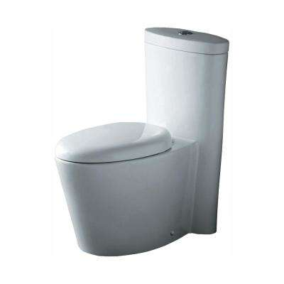 1-Piece 1.6 GPF Dual Flush Elongated Toilet in White