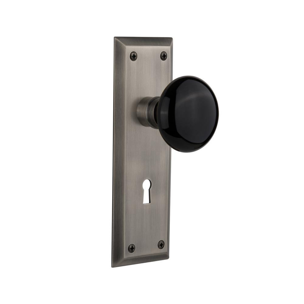 Small Pewter Door Kick Plate: Nostalgic Warehouse New York Plate Interior Mortise Black