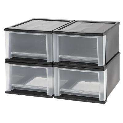 12.05 in. x 8.39 in. Black 17 Qt. Stacking Drawer (4-Pack)