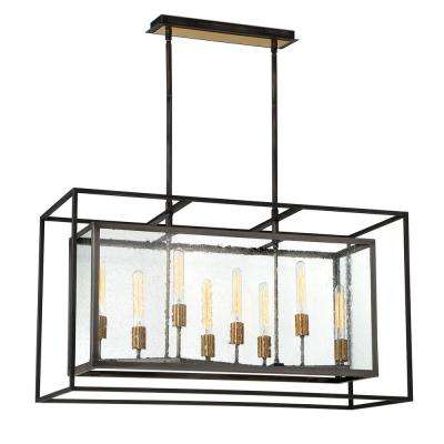 Affilato 8-Light Black Chandelier with Clear Seeded Glass Shade