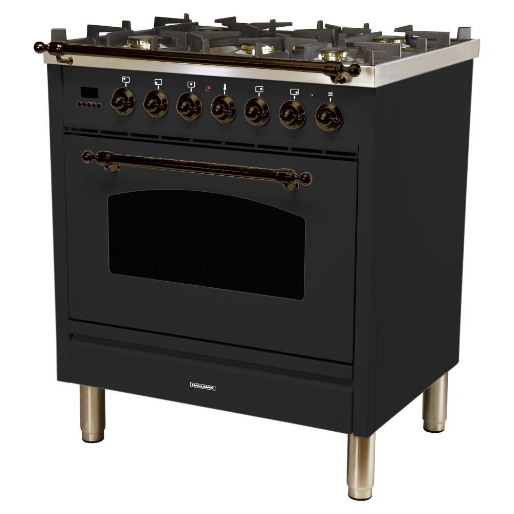 Hallman 30 in. 3.0 cu. ft. Single Oven Dual Fuel Italian Range with True Convection, 5 Burners, Bronze Trim in Matte Graphite