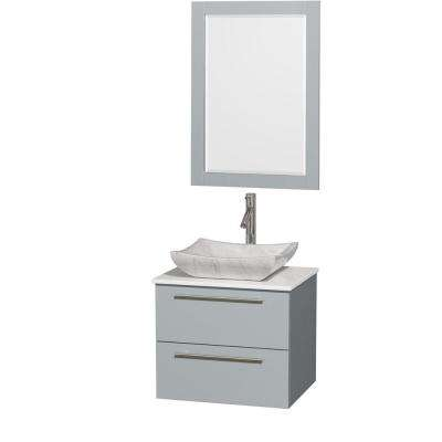 Amare 24 in. W x 19.5 in. D Vanity in Dove Gray with Solid-Surface Vanity Top in White with White Basin and Mirror