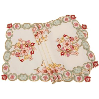 14 in. x 20 in. Primrose Embroidered Cutwork Placemats (Set of 4)