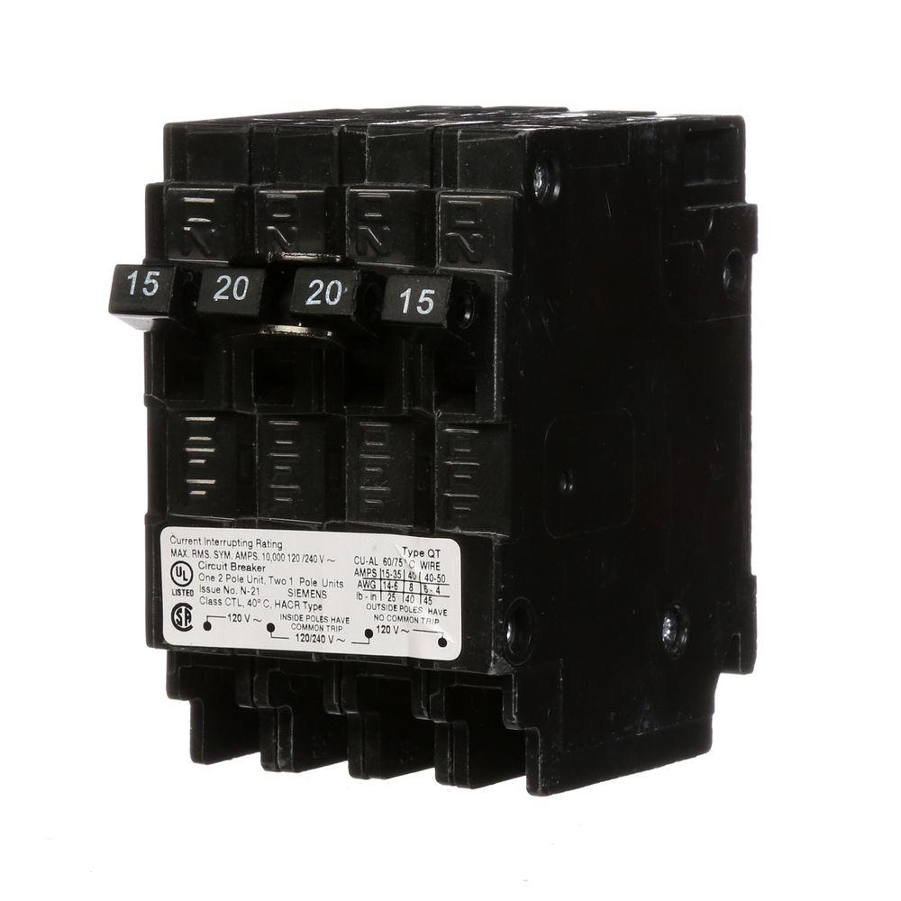 Siemens Triplex Two Outer 15 Amp Single-Pole and One Inner 20 Amp ...