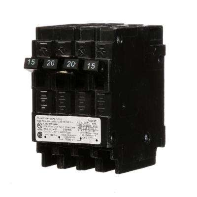 Triplex Two Outer 15 Amp Single-Pole and One Inner 20 Amp Double-Pole-Circuit Breaker
