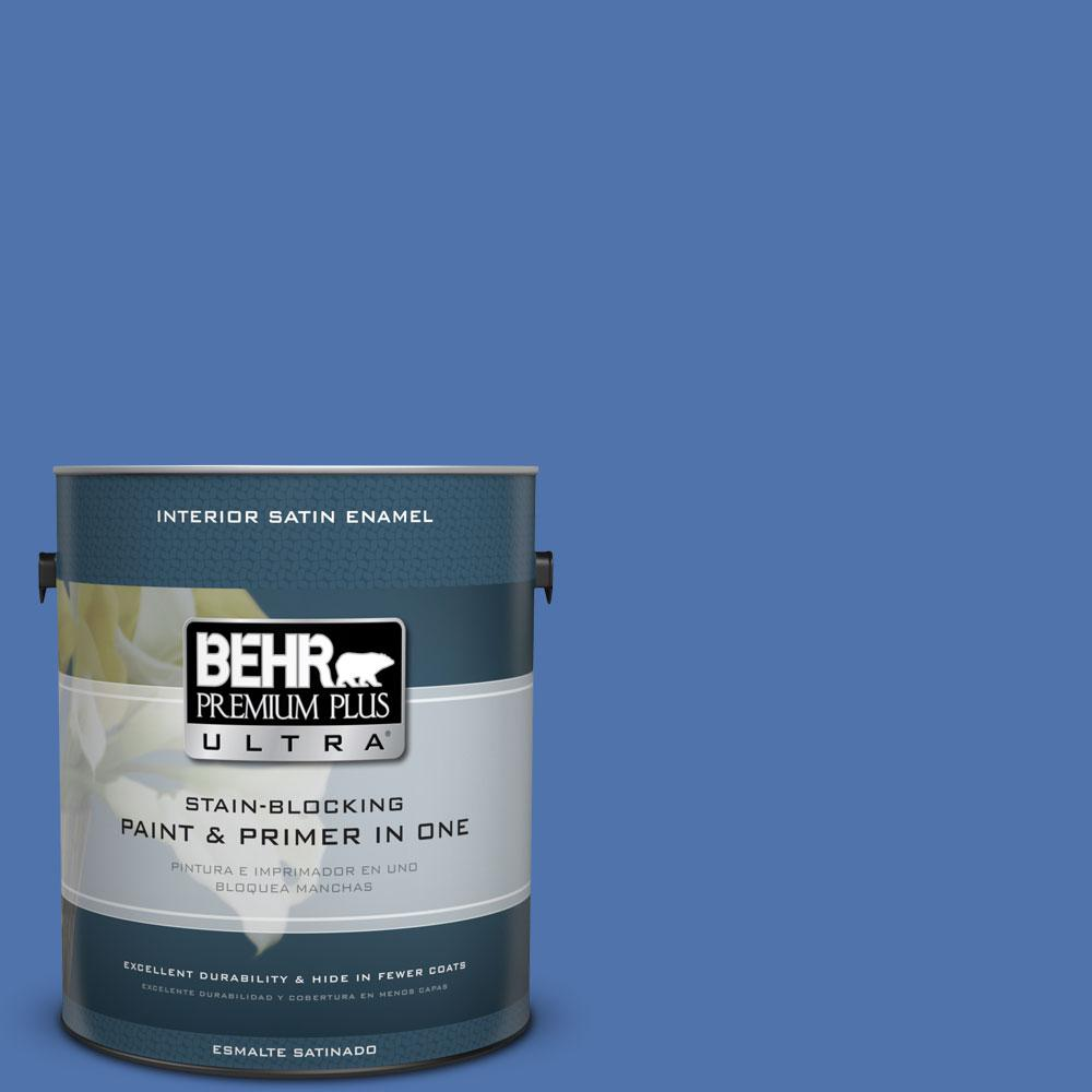 1 gal. #590B-6 Flying Fish Satin Enamel Interior Paint and Primer