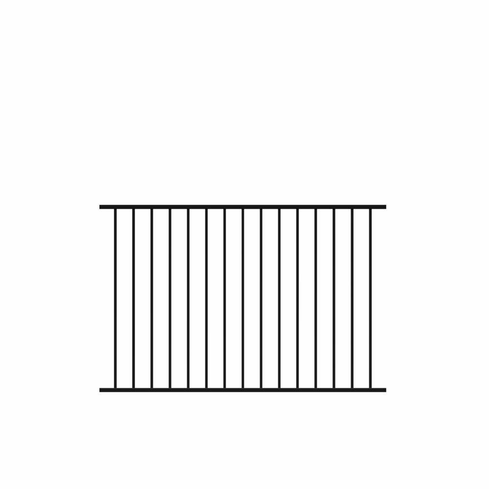 Beechmont Standard-Duty 4 ft. H x 6 ft. W Black Aluminum Pre-Assembled Fence Panel