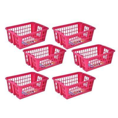 Medium Stackable Storage Basket in Pink (6-Pack)