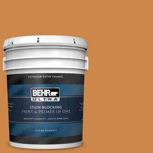 Behr Ultra 5 Gal M240 7 Golden Pumpkin Satin Enamel Exterior Paint And Primer In One 985305 The Home Depot