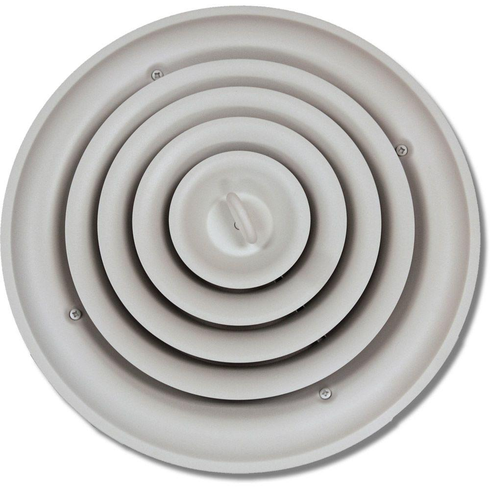 Round Ceiling Air Vent Register White With Fixed Cone