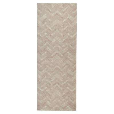 Jewel Chevron Geometric Distress Beige Natural 2 ft. 8 in. x 7 ft. Indoor Runner Rug