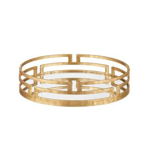 Home Decorators Collection Gold Metal Decorative Round Mirror Tray