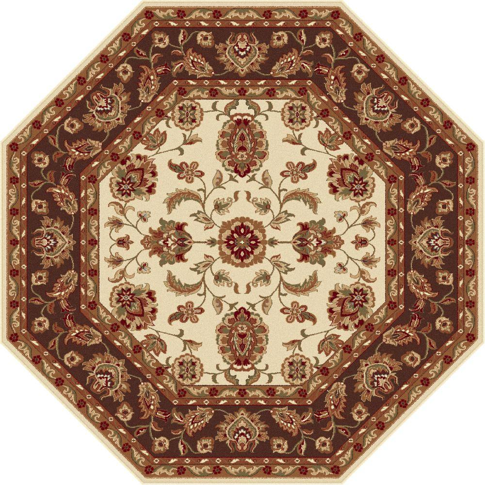 Tayse Rugs Sensation Beige 5 ft. 3 in. Octagon Transitional Area Rug