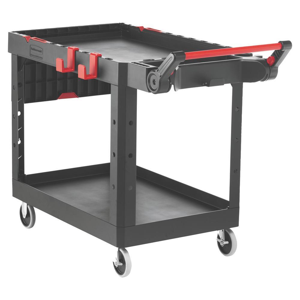 25.2 in. W x 51.5 in. D x 36 in. H 2-Shelves Heavy-Duty Adaptable Utility Cart in Black