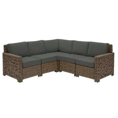 Laguna Point Brown 5-Piece Wicker Outdoor Patio Sectional Sofa Set with CushionGuard Graphite Dark Gray Cushions