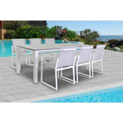 Primavera White 7-Piece Aluminum Outdoor Dining Set with Sling Set in Mouse Grey