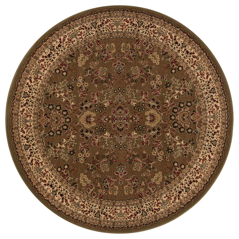 Persian Classics Sarouk Green 5 ft. 3 in. Round Area Rug