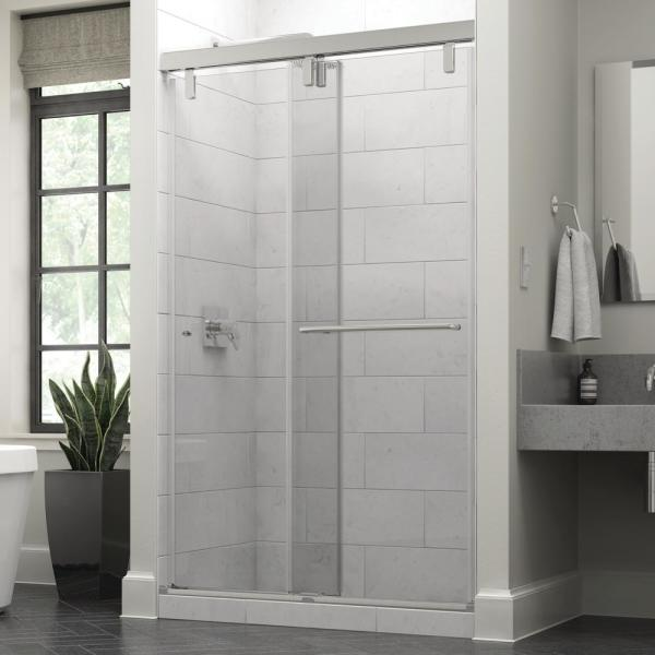 Simplicity 48 x 71-1/2 in. Frameless Mod Soft-Close Sliding Shower Door in Chrome with 3/8 in. (10mm) Clear Glass