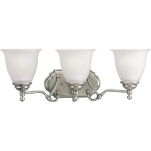 Renovations 22 in. 3-Light Antique Nickel Bathroom Vanity Light with Glass Shades