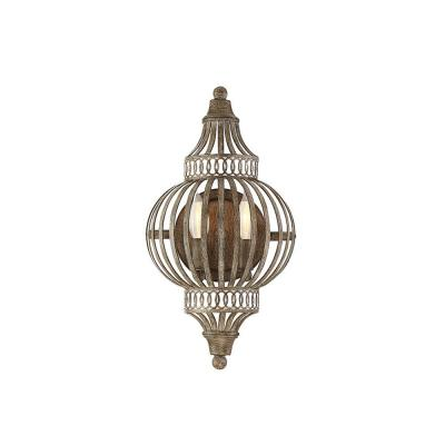 2 -Light Aged Wood Sconce