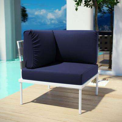 Harmony Patio Aluminum Corner Outdoor Sectional Chair in White with Navy Cushions