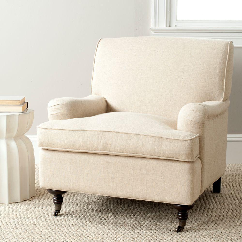 Safavieh Chloe Hemp/Espresso Linen Club Arm Chair MCR4571E