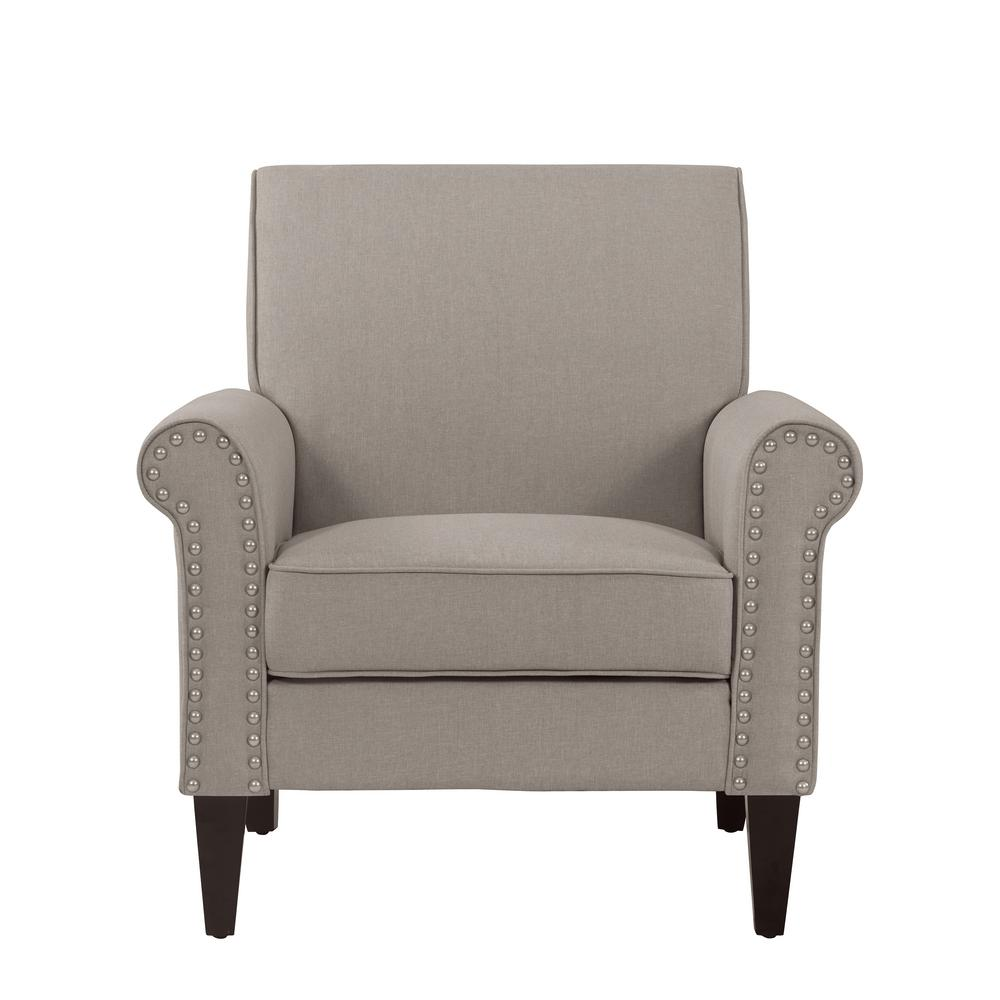 Handy Living Jean Taupe Linen Arm Chair