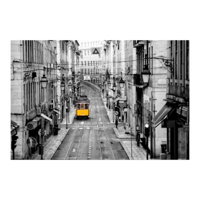 """47 in. x 32 in. """"Lisbon Yellow Tram"""" Tempered Glass Wall Art"""