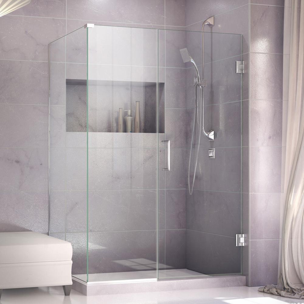 DreamLine Unidoor Plus 34-3/8 in. x 42-1/2 in. x 72 in. Semi-Frameless Hinged Corner Shower Enclosure in Chrome