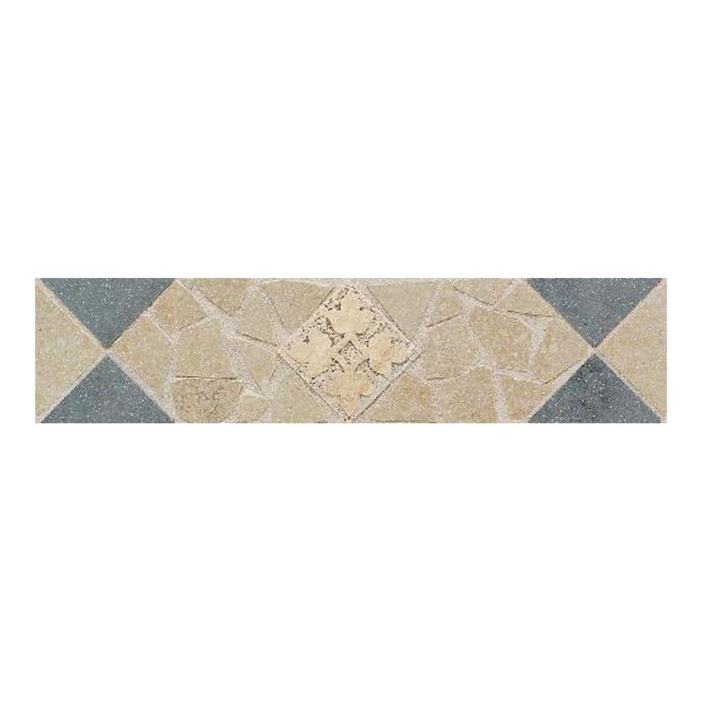 Daltile Florenza Oliva and Azzurro 3 in. x 12 in. Porcelain Decorative Floor and Wall Tile