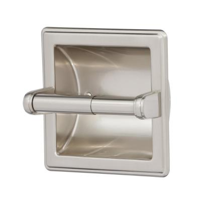 Recessed Toilet Paper Holder with Beveled Edges in Brushed Nickel