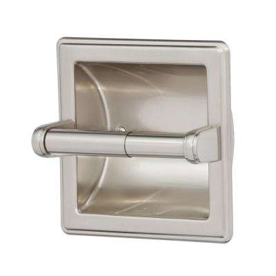 Recessed Toilet Paper Holder with Beveled Edges in Satin Nickel