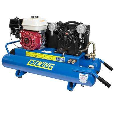 10 Gal. 5.5 HP Portable Gas-Powered Twin Stack Air Compressor with Honda GS 160 4-Stroke Engine