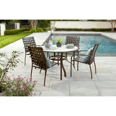 48 in. Commercial Aluminum Round Outdoor Patio Acrylic Top Dining Table in Brown